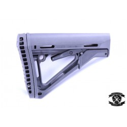 Magpul Style CTR Stock With Machined Out Battery Storage Butt Pad (Black / Tan) Fits Next Gen AEGs