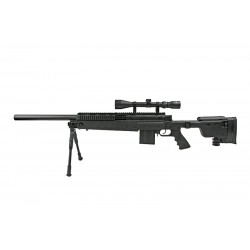 MB4406D sniper rifle replica with scope and bipod (Black)